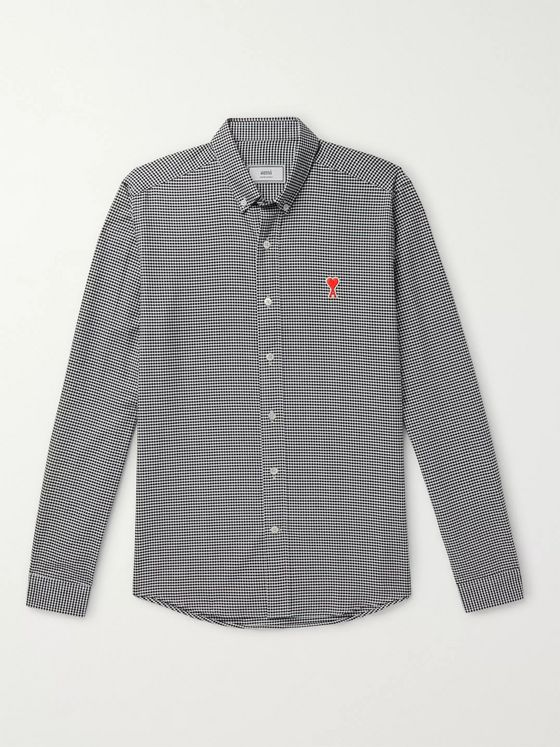 AMI Slim-Fit Button-Down Collar Logo-Appliquéd Checked Cotton Shirt