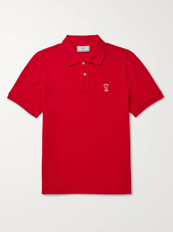 AMI Logo-Appliquéd Cotton-Jersey Polo Shirt