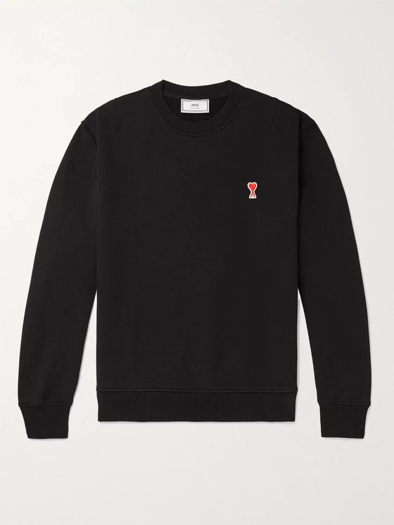 AMI PARIS Logo-Appliquéd Loopback Cotton-Jersey Sweatshirt