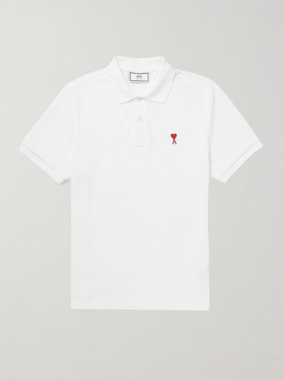AMI PARIS Logo-Appliquéd Cotton-Piqué Polo Shirt