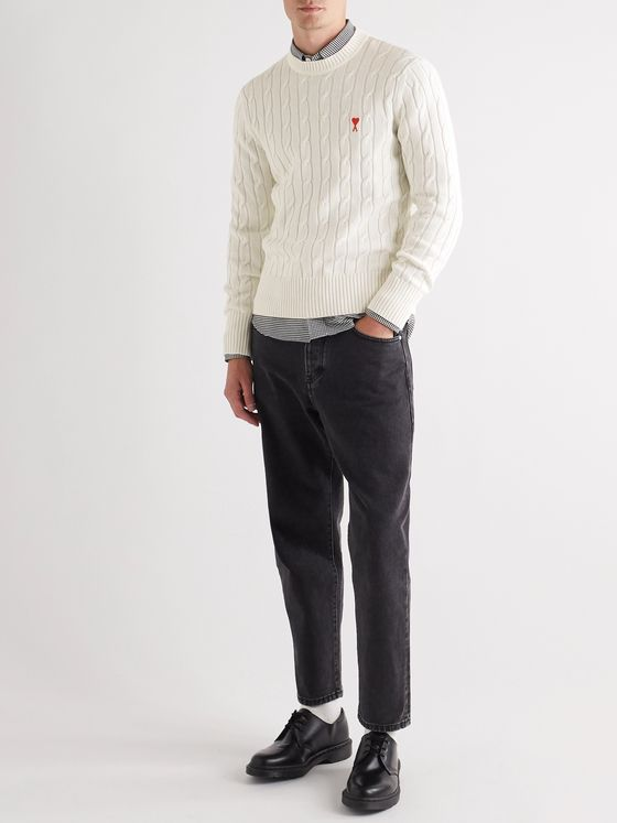 AMI Slim-Fit Logo-Appliquéd Cable-Knit Cotton and Merino Wool-Blend Sweater