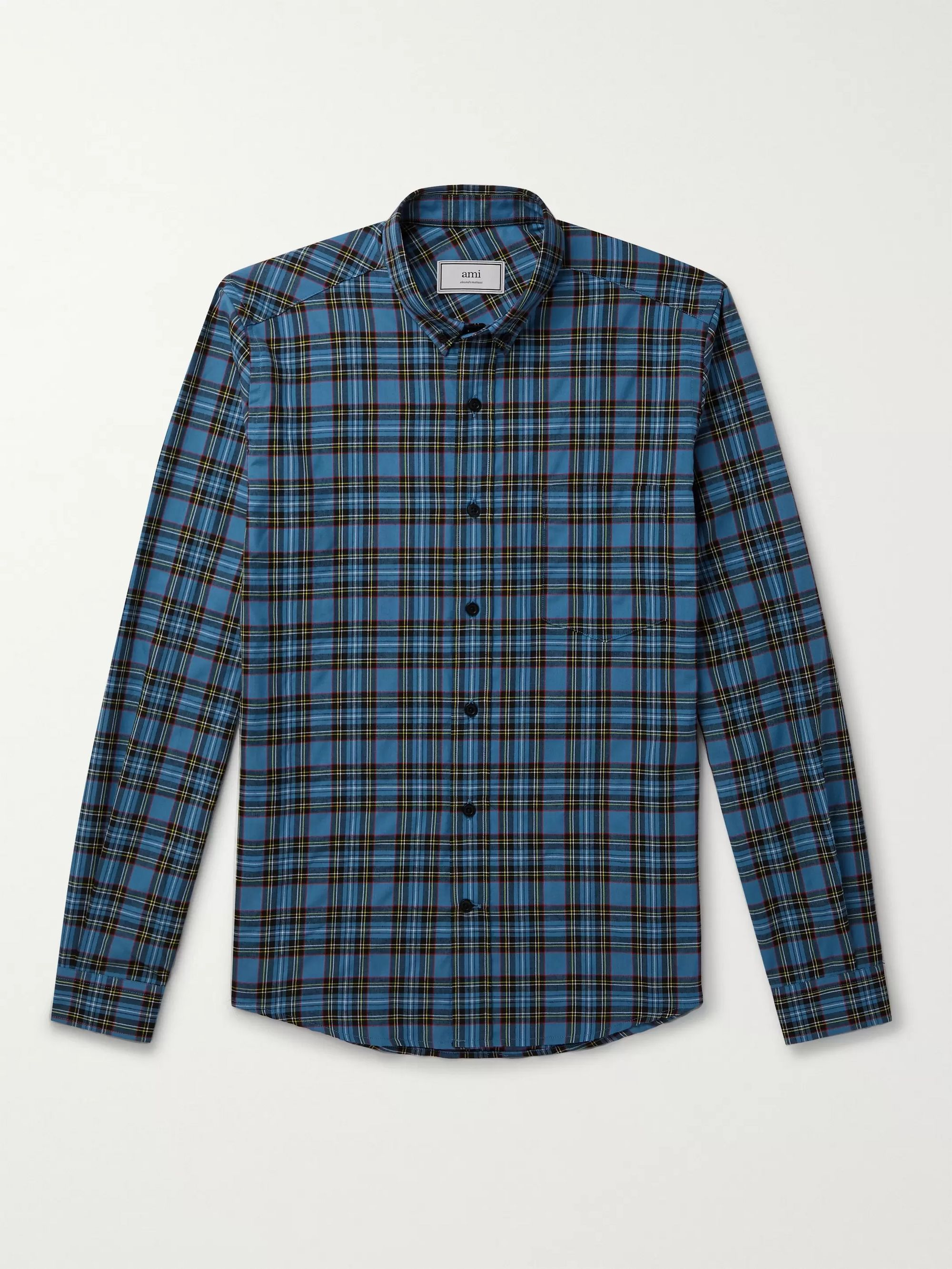 AMI Button-Down Collar Checked Flannel Shirt