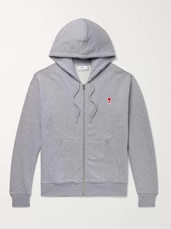 AMI Logo-Appliquéd Loopback Cotton-Jersey Zip-Up Hoodie