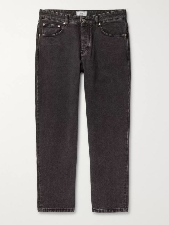 AMI Tapered Washed Denim Jeans