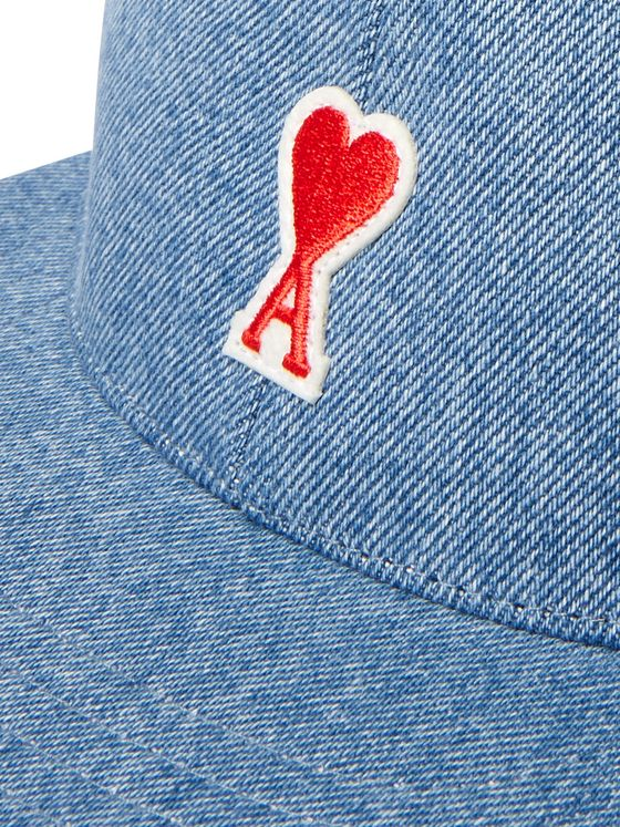 AMI Logo-Appliquéd Denim Baseball Cap