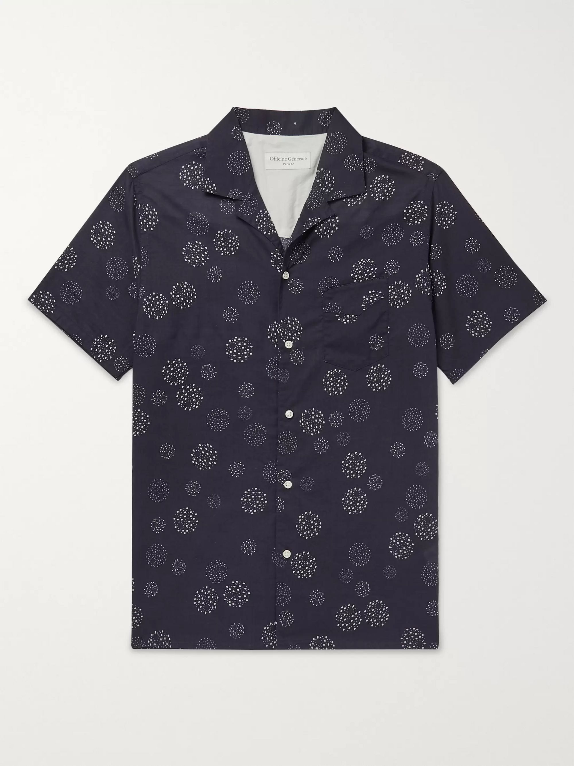 Officine Générale Dario Camp-Collar Printed Cotton-Voile Shirt