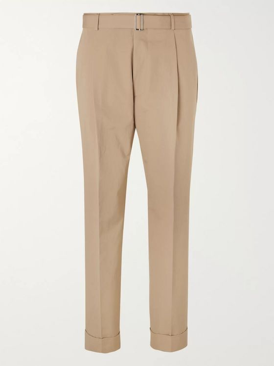 Officine Générale Hugo Tapered Belted Cotton-Poplin Suit Trousers