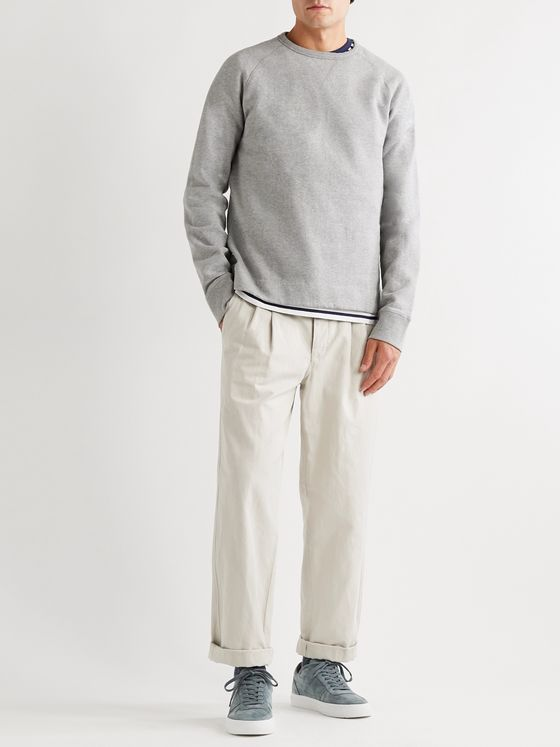 Officine Generale Camille Garment-Dyed Mélange Fleece-Back Cotton-Jersey Sweatshirt