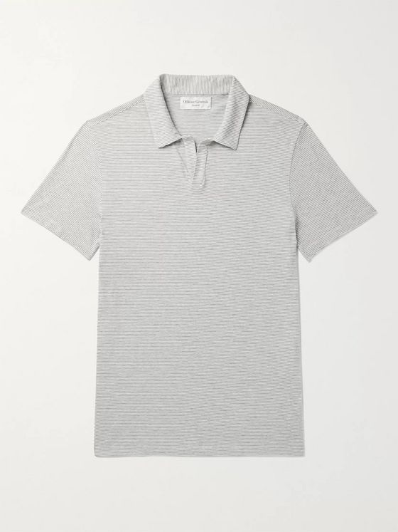 Officine Générale Simon Striped Cotton-Jersey Polo Shirt