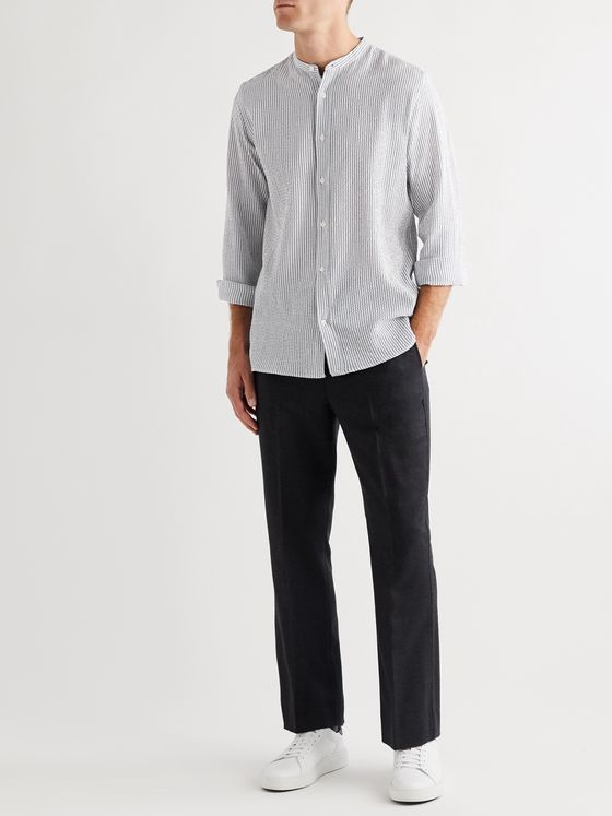 Officine Generale Gaston Grandad-Collar Striped Cotton-Blend Seersucker Shirt