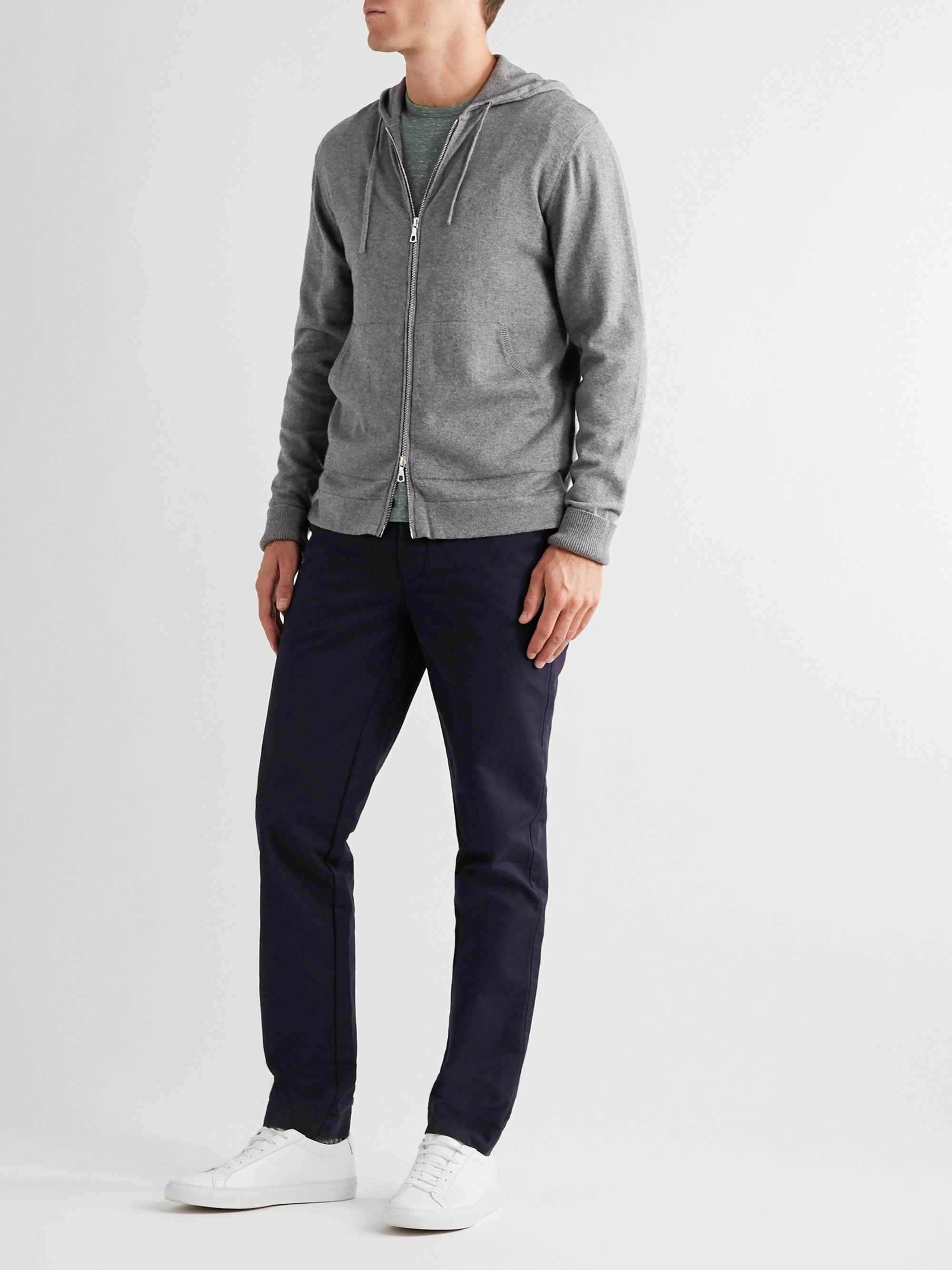 Officine Générale Cotton and Wool-Blend Zip-Up Hoodie