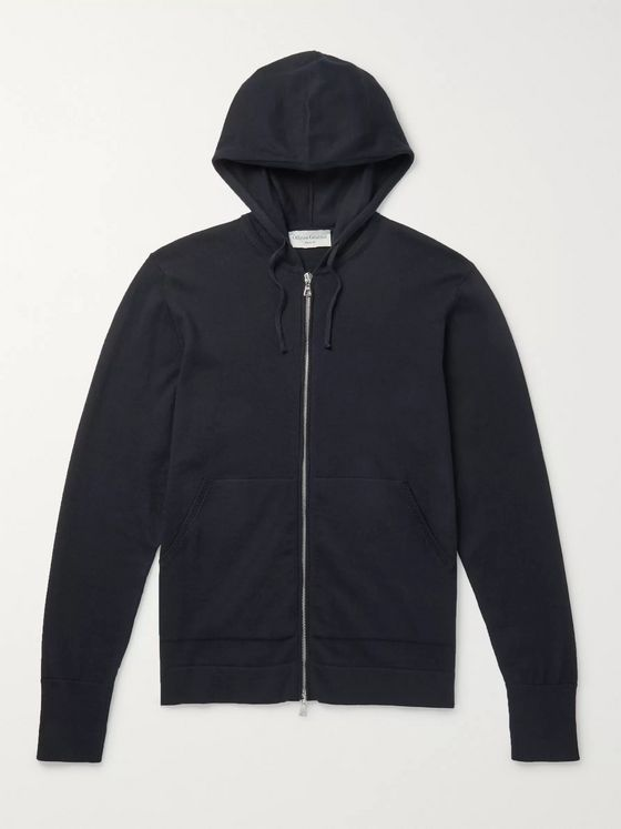 Officine Generale Cotton and Wool-Blend Zip-Up Hoodie