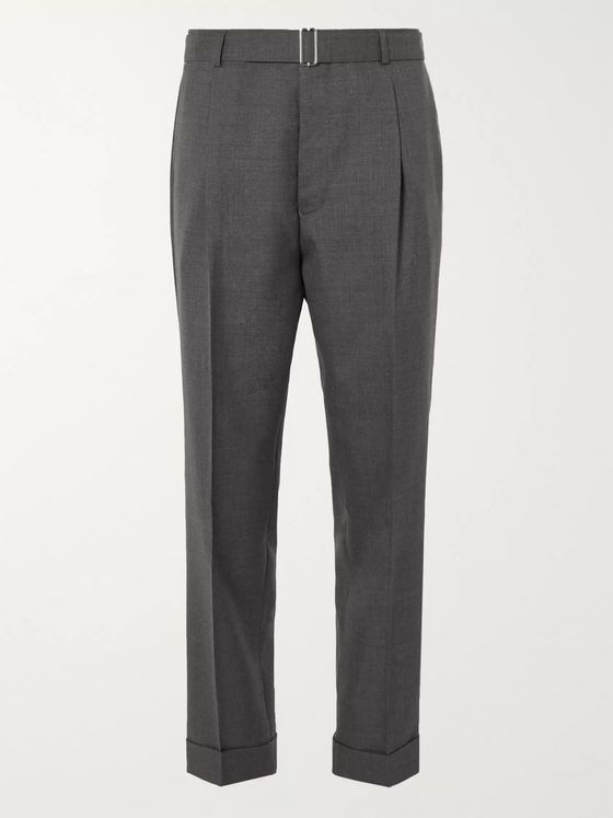 Officine Générale Hugo Tapered Pleated Belted Wool Trousers