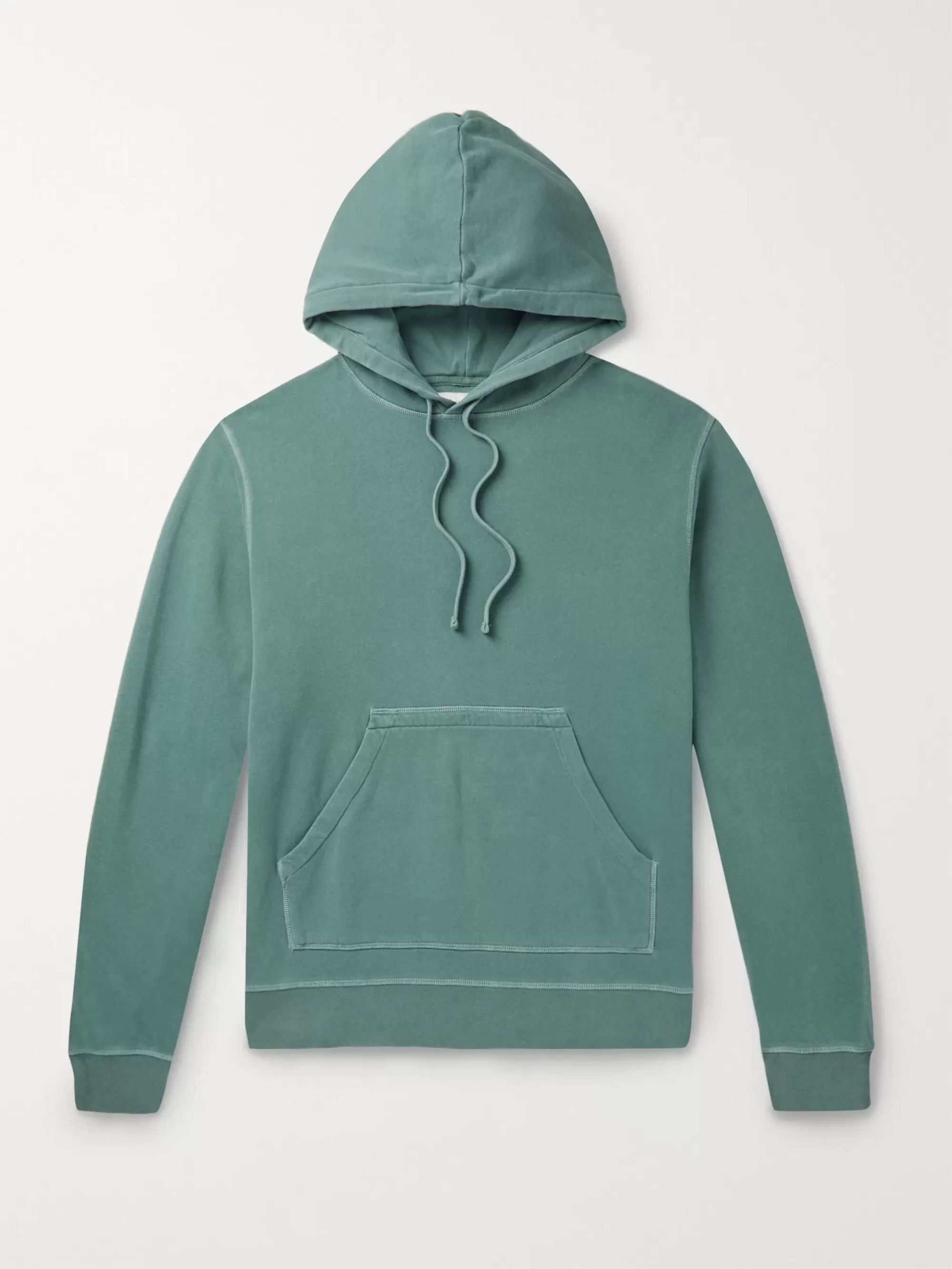 Officine Generale Olivier Garment-Dyed Loopback Cotton-Jersey Hoodie
