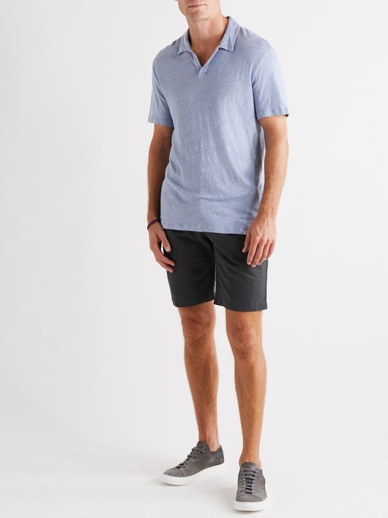 OFFICINE GÉNÉRALE Simon Garment-Dyed Linen Polo Shirt