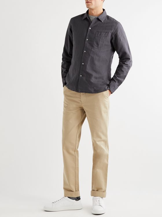 Officine Générale Garment-Dyed Cotton and Linen-Blend Shirt