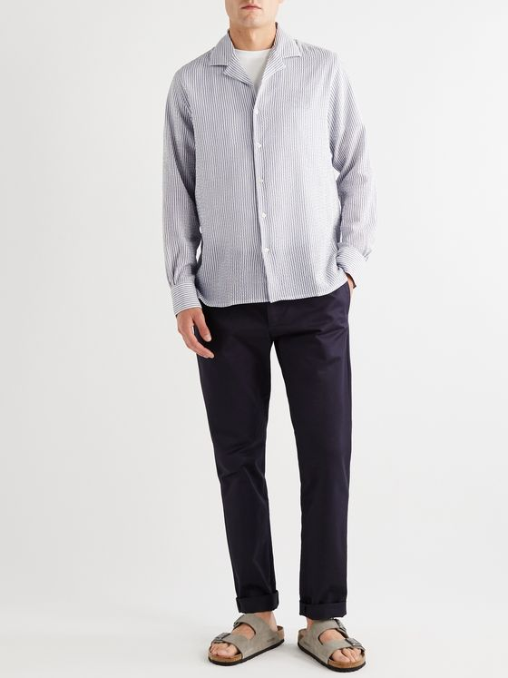 Officine Générale Dario Camp-Collar Striped Cotton-Blend Seersucker Shirt