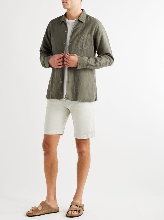 OFFICINE GÉNÉRALE Julian Slim-Fit Garment-Dyed Cotton and Linen-Blend Shorts