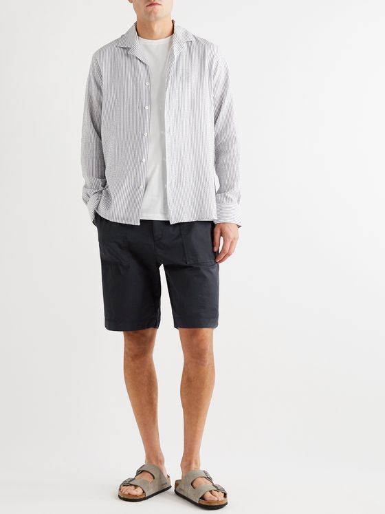 OFFICINE GÉNÉRALE Paolo Garment-Dyed Cotton-Blend Shorts