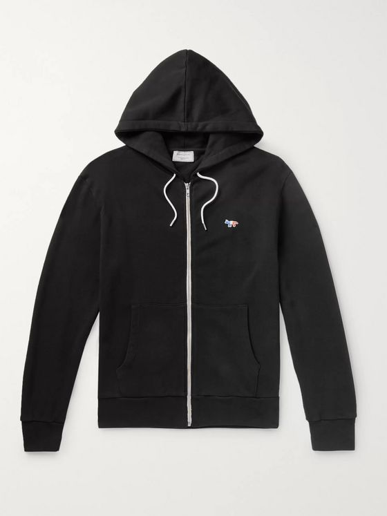 Maison Kitsuné Logo-Appliquéd Loopback Cotton-Jersey Zip-Up Hoodie