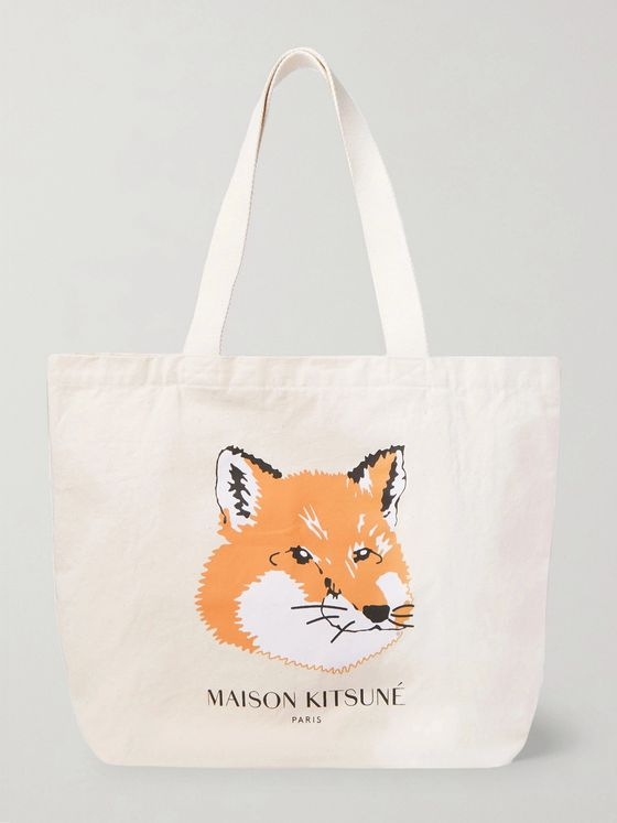MAISON KITSUNÉ Logo-Print Cotton-Canvas Tote Bag