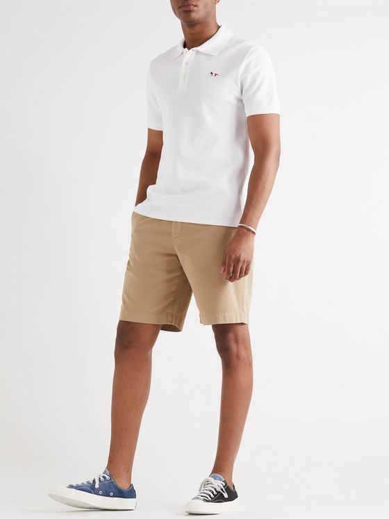 MAISON KITSUNÉ Logo-Appliquéd Cotton-Piqué Polo Shirt