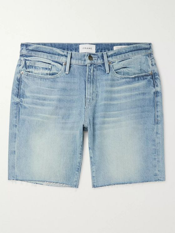FRAME L'Homme Frayed Denim Shorts