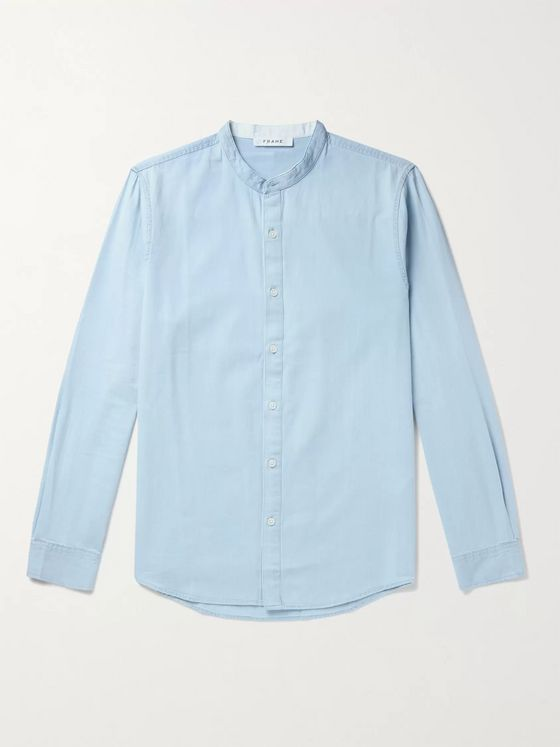 FRAME Grandad-Collar Cotton-Chambray Shirt