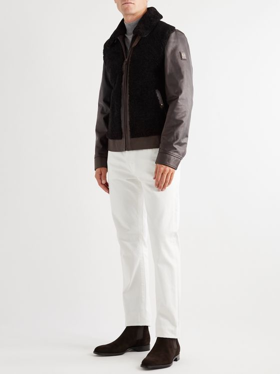 Belstaff Grizzly Shearling-Trimmed Padded Leather Jacket