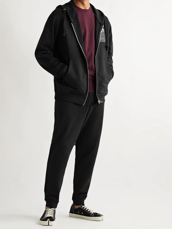 Maison Margiela Tapered Leather-Appliquéd Organic Loopback Cotton-Jersey Drawstring Sweatpants