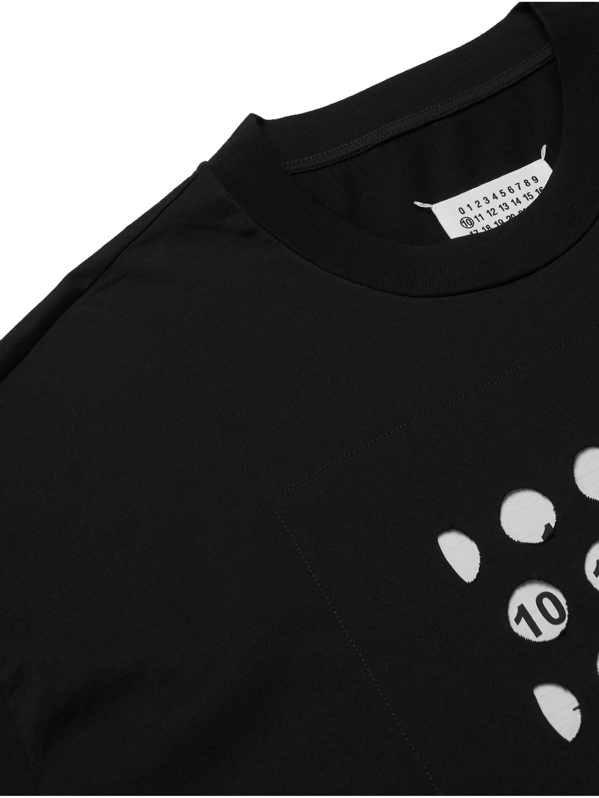 Maison Margiela Oversized Logo-Print Cut-Out Cotton-Jersey T-Shirt