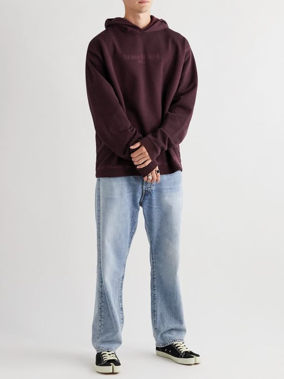 Maison Margiela Oversized Logo-Embroidered Garment-Dyed Loopback Cotton-Jersey Hoodie