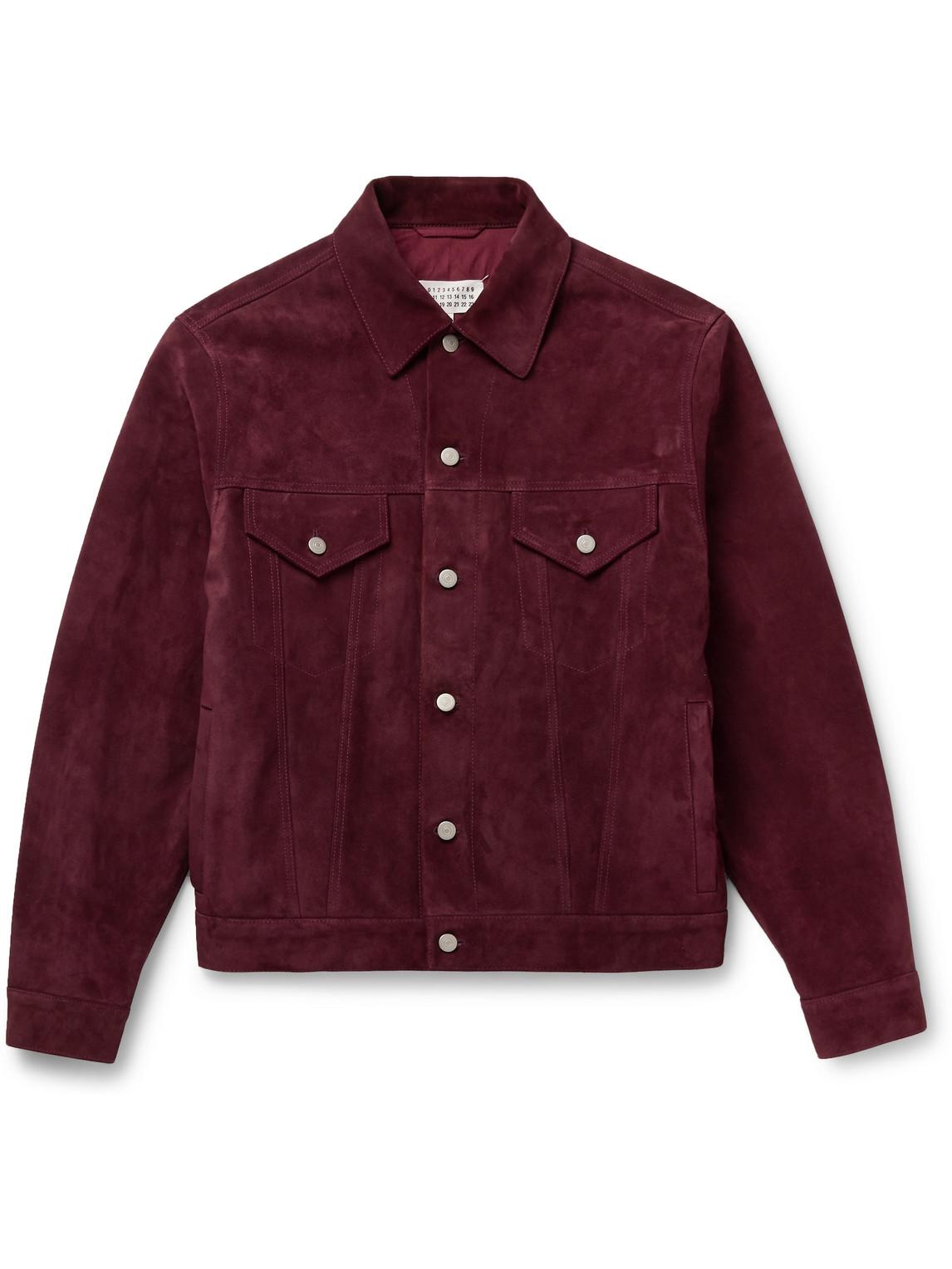 maison margiela - suede blouson jacket - men - burgundy - it 52