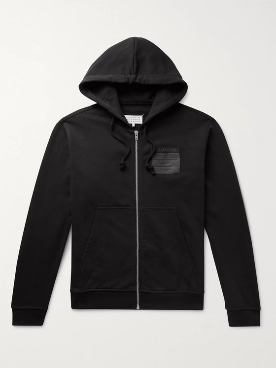Maison Margiela Leather-Appliquéd Organic Loopback Cotton-Jersey Zip-Up Hoodie