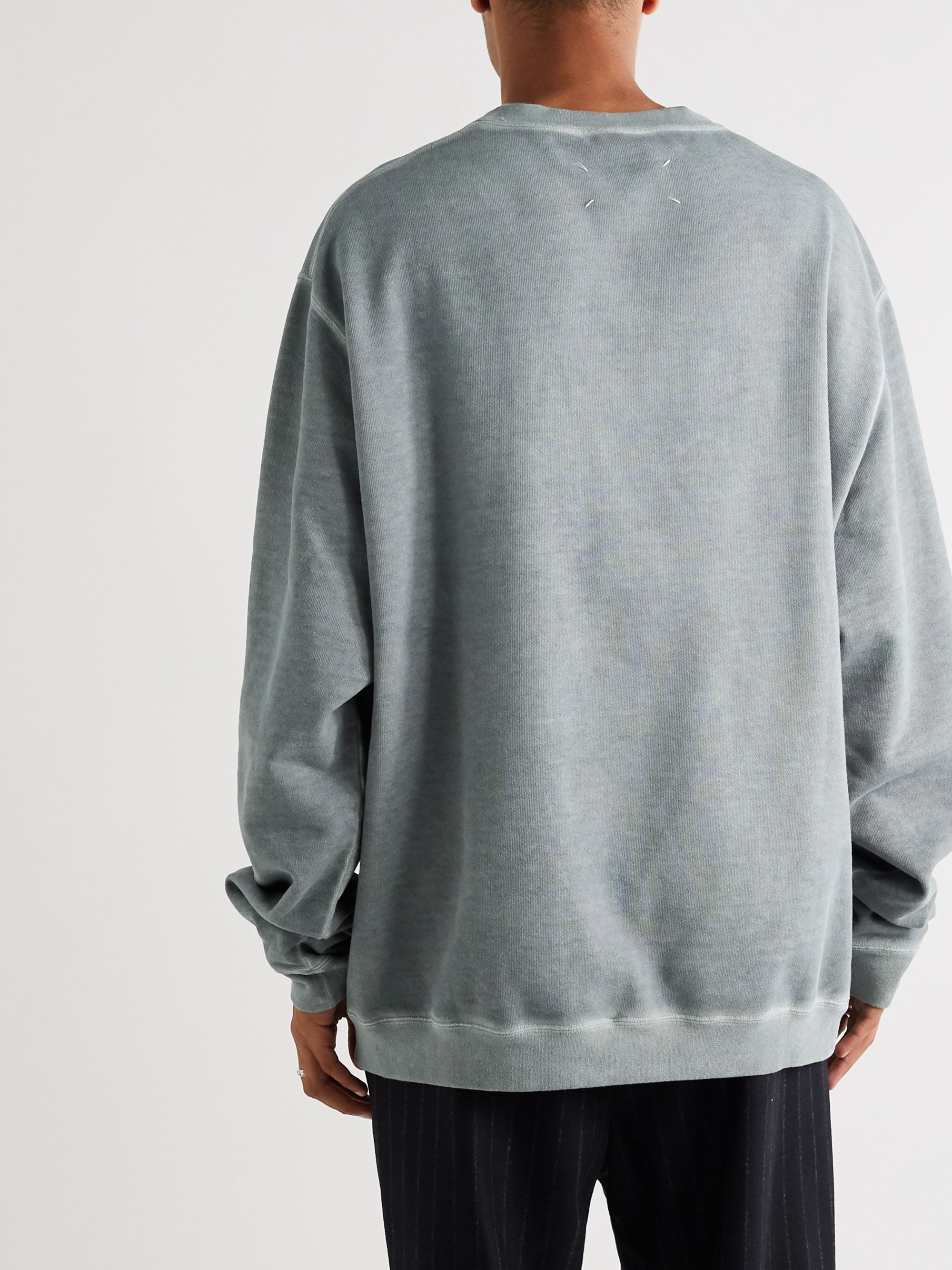 Gray Oversized Logo-embroidered Cotton-jersey Sweatshirt | Maison Margiela