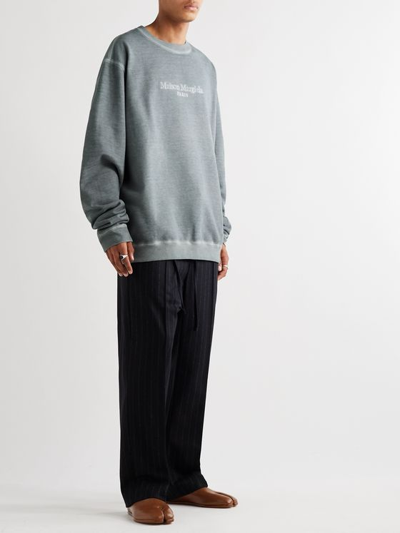 Maison Margiela Oversized Logo-Embroidered Cotton-Jersey Sweatshirt