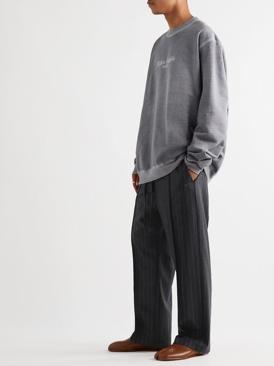 Maison Margiela Wide-Leg Pinstriped Virgin Wool-Flannel Drawstring Trousers