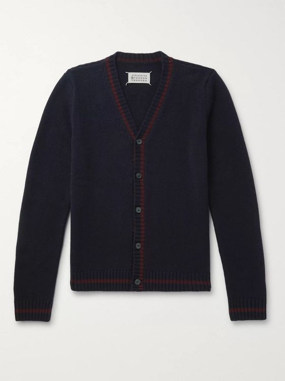Maison Margiela Contrast-Tipped Wool Cardigan