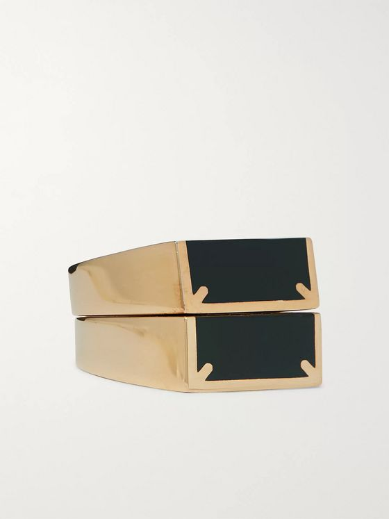 Maison Margiela Set of Two Gold-Tone and Enamel Rings