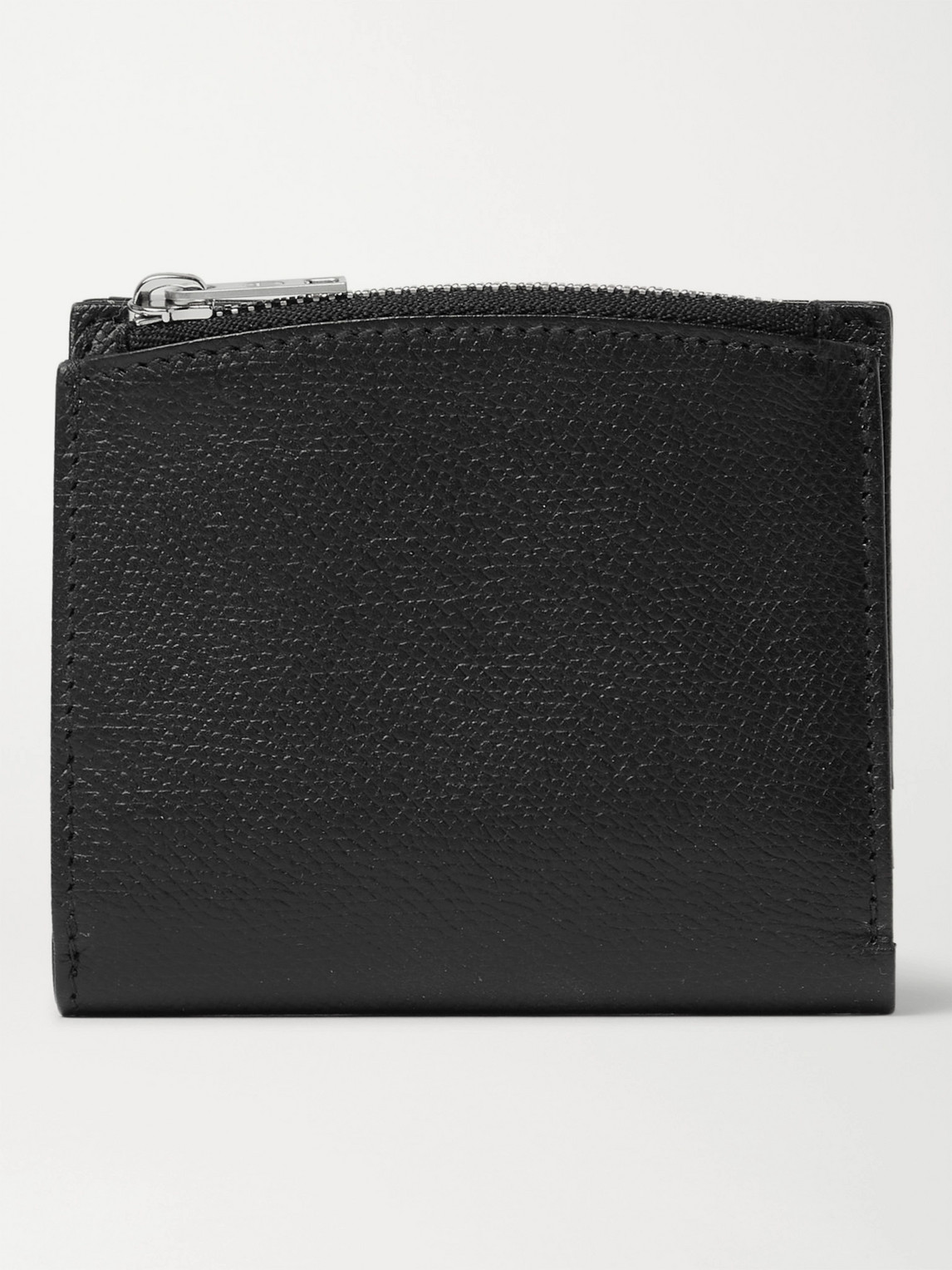 Maison Margiela Embroidered Full-grain Leather Wallet In Black