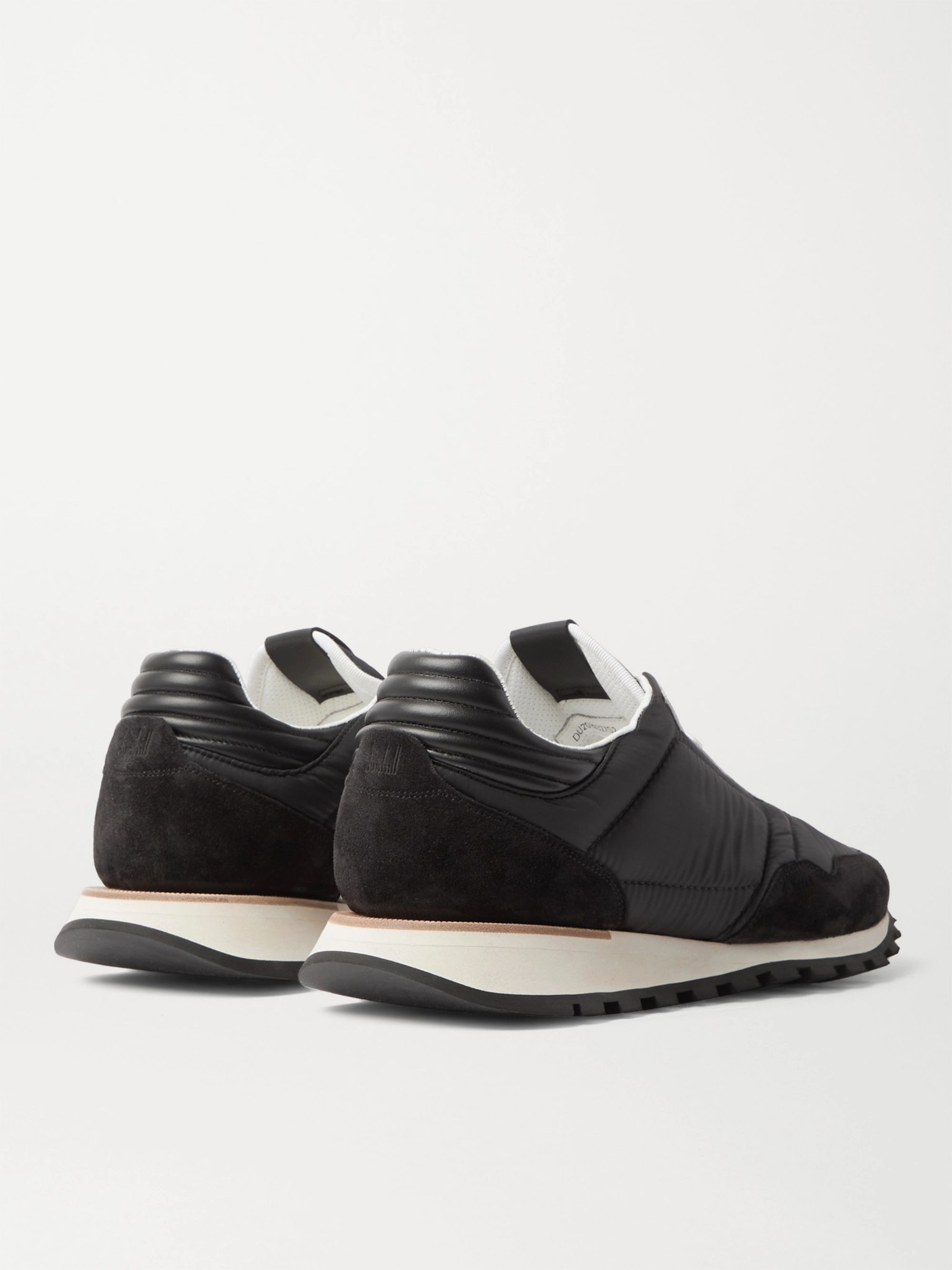 Black Axis Leather And Suede-trimmed Shell Sneakers | Dunhill