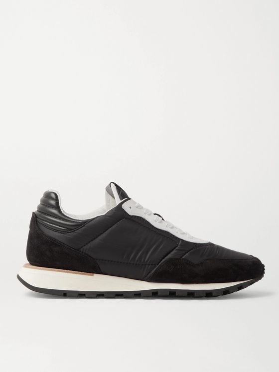 Dunhill Axis Leather and Suede-Trimmed Shell Sneakers