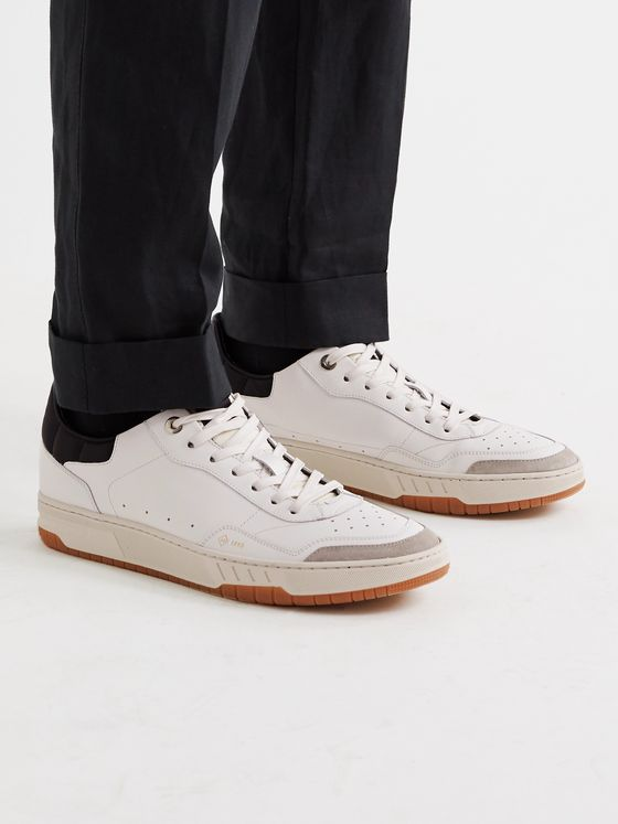DUNHILL Court Elite Suede-Trimmed Leather Sneakers