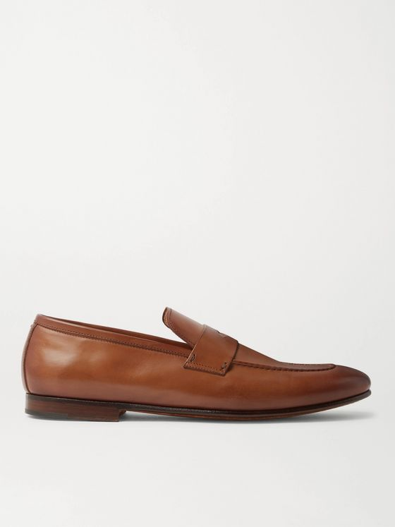Dunhill Chiltern Burnished-Leather Penny Loafers