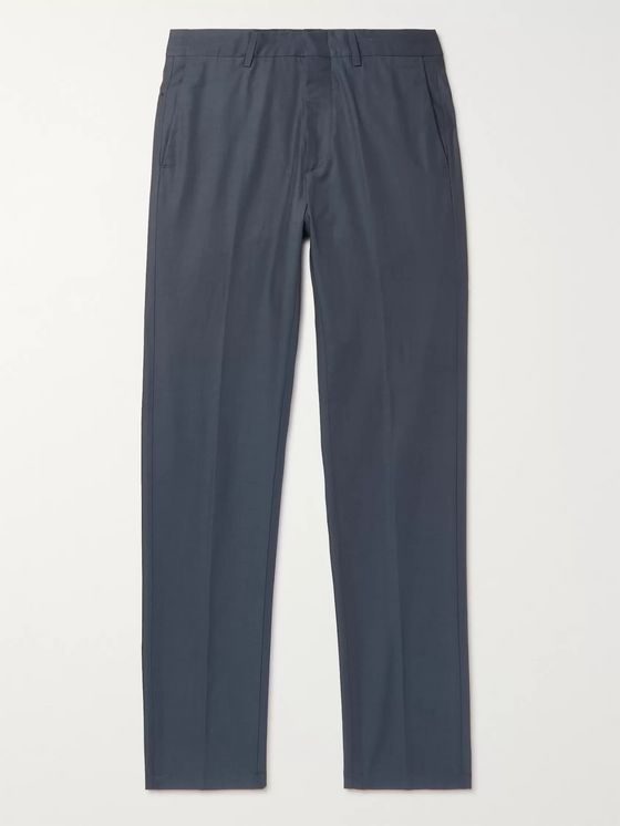DUNHILL Navy Slim-Fit Gabardine Trousers