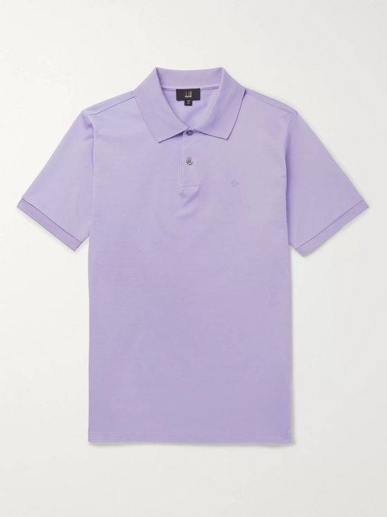 Dunhill Logo-Embroidered Cotton-Piqué Polo Shirt