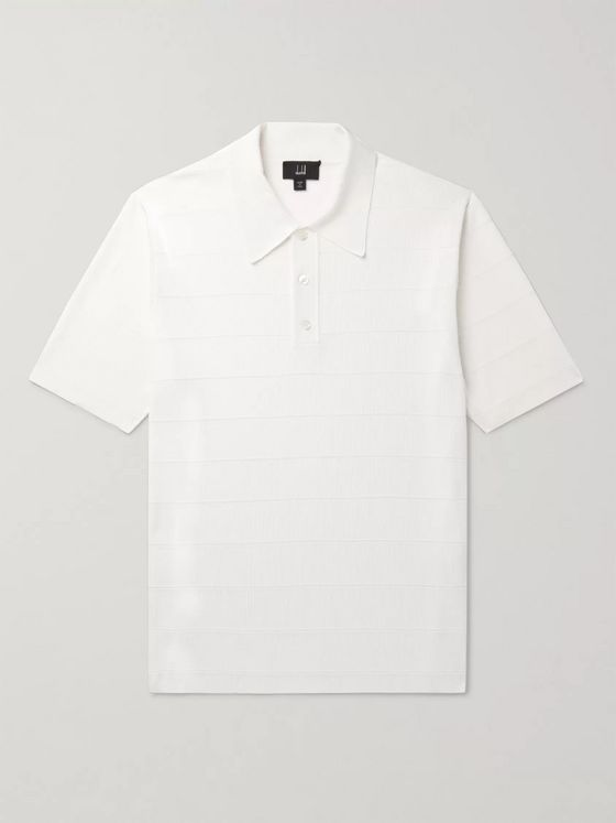 DUNHILL Striped Ribbed Mulberry Silk Polo Shirt