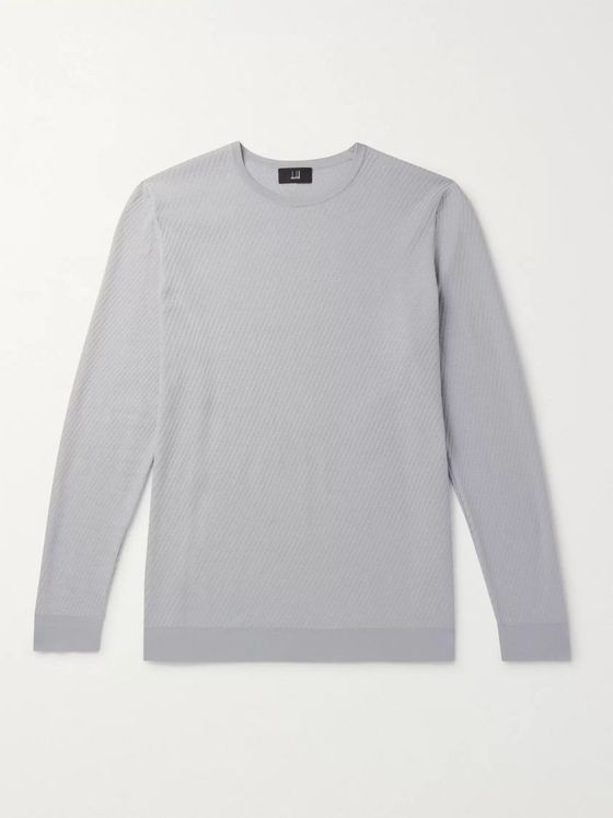 DUNHILL Textured Mulberry Silk, Cotton and Linen-Blend Sweater