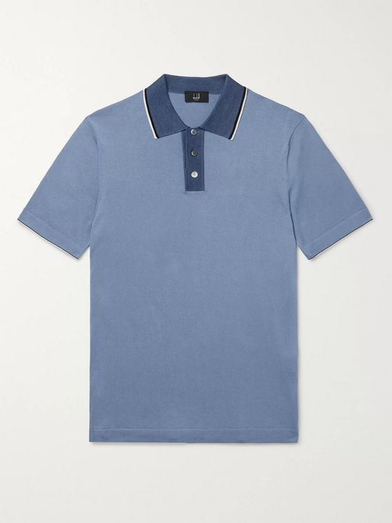 Dunhill Slim-Fit Silk-Trimmed Cotton Polo Shirt