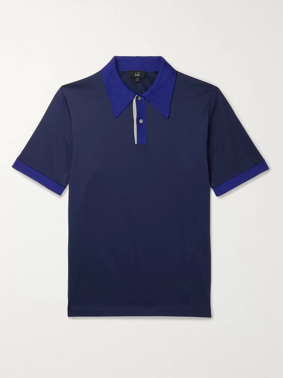 DUNHILL Contrast-Tipped Mercerised Cotton-Jersey Polo Shirt